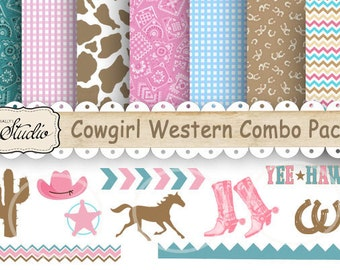 Western Cowgirl Paper, Clip-art Combo Pack, Digital paper, Scrapbook clip art, Birthday, country western, craft supplies, printable, JPEG