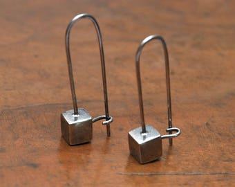 Oxidized sterling silver 925 earrings cubes