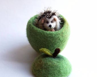 Needle felted hedgehog sitting in an apple