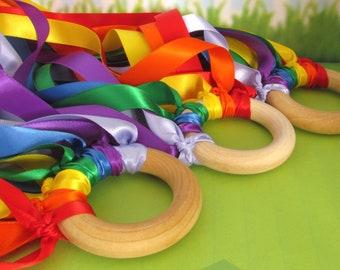 Rainbow Waldorf Wind Wand - Rainbow Handkite -  Rainbow Satin Ribbon Hand Kite