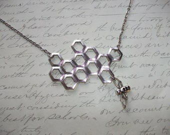 Silver honeycomb with bee charm necklace
