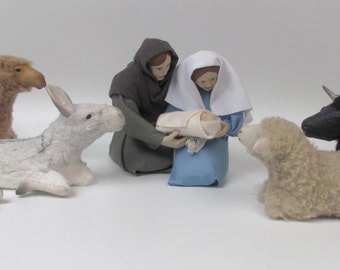 North Carolina Made Nativity With Lying Creatures 5 1/2""