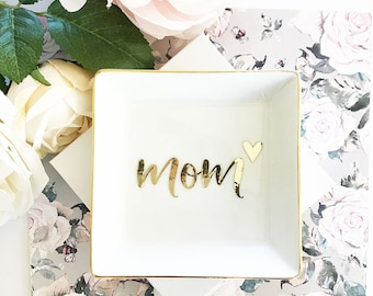 Mom Gift Mom Jewelry Dish Mom Birthday Gift for Mothers Day Gift for Mom from Son Christmas Gifts for Mom (EB3180MOM) Monogram Ring Dish