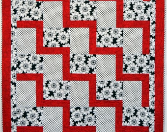 Black and Red Daisies Modern Handmade Patchwork Quilt