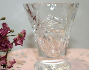 Teeny tiny crystal vase; cut crystal vase