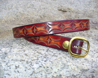 "1"" Tooled Leather Belt"