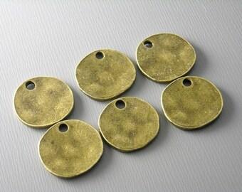 CHARM-AB-DISC-14MM - Antiqued Bronze Textured Disc - 10 pcs