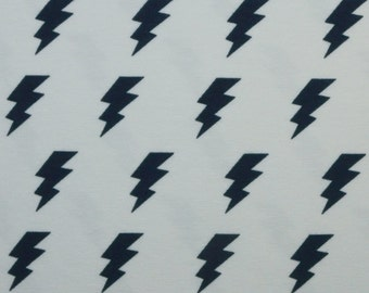 Jersey fabric flashes dark blue on 150 cm wide white - flashes blue on white -