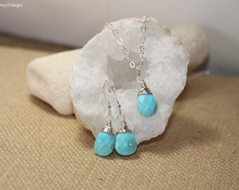 Sleeping Beauty Turquoise Necklace and Earrings Set, Wire Wrapped Jewelry, December Birthstone, Sterling Silver or Gold Filled