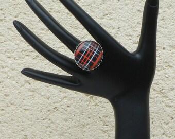 Scottish fabric glass cabochon Adjustable ring