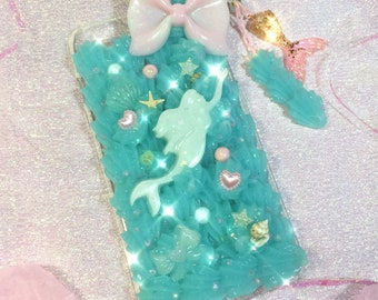 Mermaid iPhone 6 Plus Decoden Case with Whip & Mermaid Tail Charm