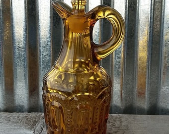 LE Smith Moon and Star Amber Cruet-LE Smith Glass-Moon and Star Glass-Amber Glass-Vintage Glass-Vintage Cruet-Glass Cruet