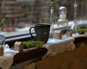 Coffee Lovers Ceramic Gold-Heart Mug, Free Shipping