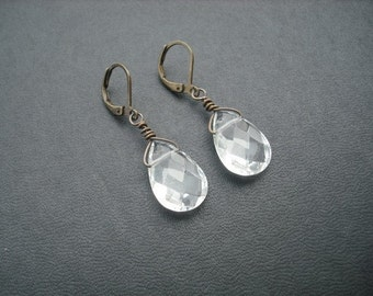 clear faceted briolettes earrings - 11 different colors to choose from