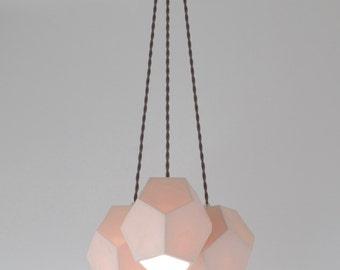 Hexagon Trio Chandelier, Translucent Porcelain Ceramic Lighting, Modern Lighting Design