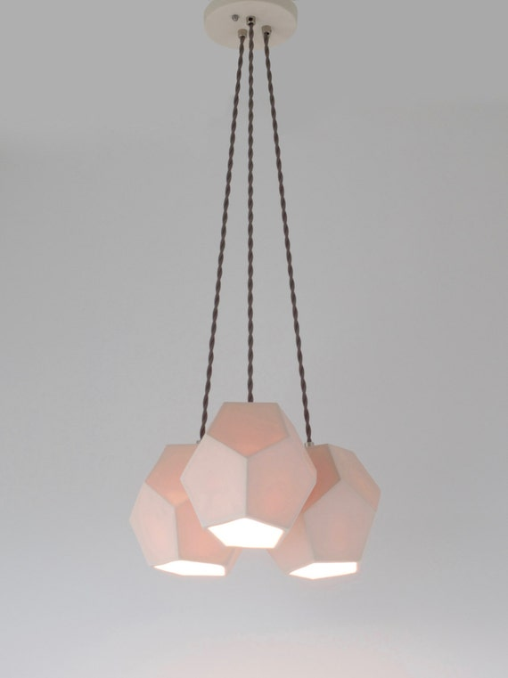 Hexagon trio chandelier translucent porcelain ceramic