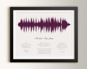 Wedding song lyric art song sound wave st anniversary gift