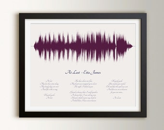 1st Paper Anniversary Gifts, Custom Wedding Song Art, First Dance Song for Her, Song Lyric Art, Sound Wave Art Print, Soundwave Song Lyrics