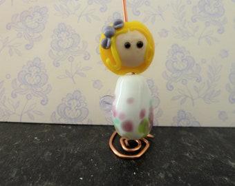 lampwork glass fairy bead, uk novelty handmade set
