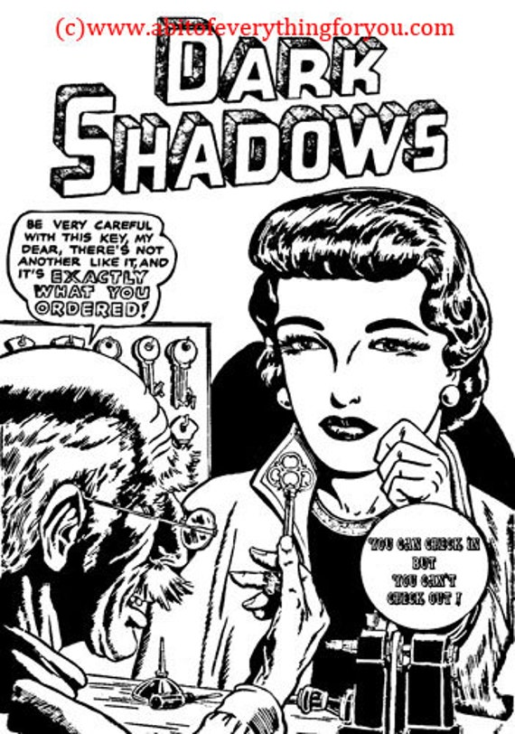 dark shadows horror comics printable art vintage instant download black and white  horror coloring page digital image graphics Creepy Hotel