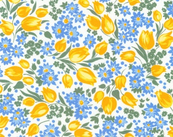 Robert Kaufman - Sunshine Garden Yellow Tulips by Darlene Zimmerman / Blue, Yellow, White Floral 1930's Reproduction