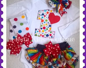 1st birthday girl outfit, rainbow birthday, polka dot birthday, 2nd birthday, circus themed