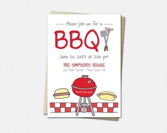 BBQ Invitations - Cookout Invitations - Barbecue Invitations - BBQ Party Invitations