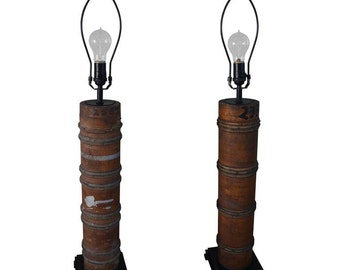 Pair of Table Lamps Created from Wallpaper Printing Rollers