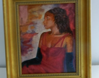 Waiting, Original Framed African American Art, 8x10