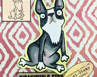 Boston Terrier Digital Stamp - Cute dog Digital Stamp - Digistamp - Coloring Pages - Printable Sticker - Clip Art - Printables