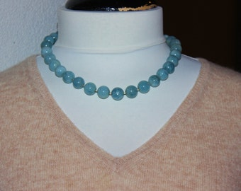 Blue Aquamarine Beaded Classic Necklace  Necklace, chocker Gemstone Necklace, Gift for her,  March baby