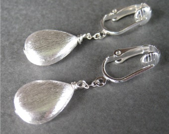 Silver Teardrop Clip On Earrings, Brushed Silver Dangle Clipons, Metallic Clip Earrings, Drop Pendant Clip Earrings, Handmade, Shine