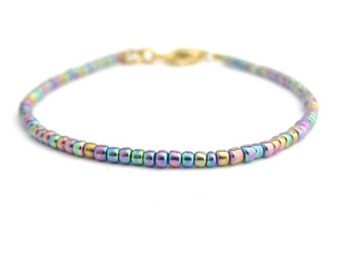 Carnival Glass Seed Bead Bracelet, Seed Bead Bracelet, Friendship Bracelet, Minimal Bracelet, Accent Bracelet, Stacking Layer Wrap