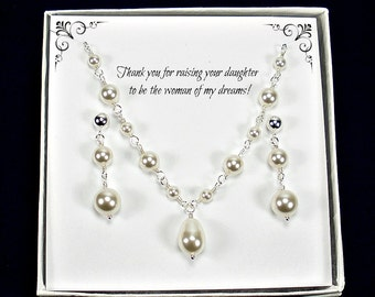 Mother of  Bride Gift, Mother of Groom Gift, Pearl Mother of Bride Jewelry, Mother of Bride Necklace, Swarovski Pearl Jewellery, Made in USA