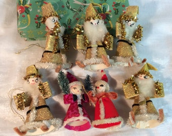 Miniature Santa Gold Lot Spun Cotton Heads Pipe Cleaner Trim