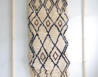 "6'3"" x 2'10"" Small Moroccan Beni Ourain Rug ,  Moroccan Rug , Hallway Rug , Runner rug , bohemian rug"
