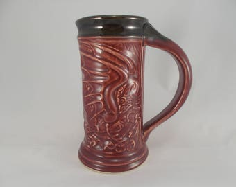 Red Dragon Stein, Beer Mug, Carved Dragon, Sci-Fi Fantasy Art Pottery