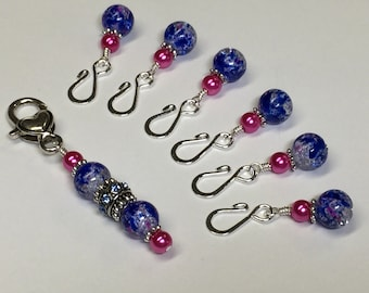 Cobalt Removable Stitch Markers | Open Hook | Knitting Marker Charms