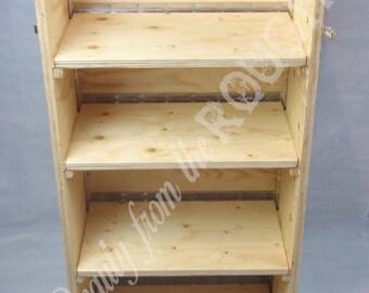 Folding display shelves