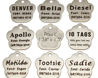 Personalized Etched Stainless Steel Paw Print ID Tag // Dog Name Tag
