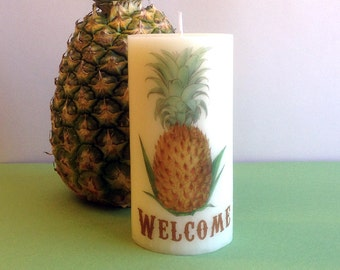 Pineapple Welcome Candle, Pineapple Decor, Housewarming Gift, Pineapple Kitchen Decor, Colonial Decor, Welcome Home, Pineapple Candle