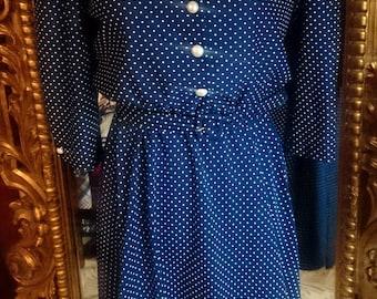 Vintage 1980's Whirlaway Frocks Navy Polka Dot Sailor Dress!