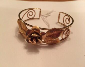 Vintage gold plated kremitz rose an scroll cuff bracelet