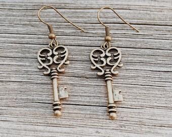 Vintage-Style Skeleton Key Earrings