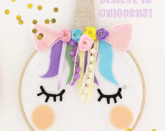 Unicorn Decoration/ embroidery hoop/ wall art/ kids room decoration