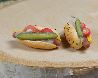 Fairy Garden Loaded Hot Dog ~ Miniature Chicago Style Dog ~ Tiny Picnic Foods for Fairies and Dollhouses ~ Fairy Garden Accessories & Supply