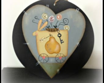 Primitive Bunny Spring Flowers Pear Large Wood Ornament