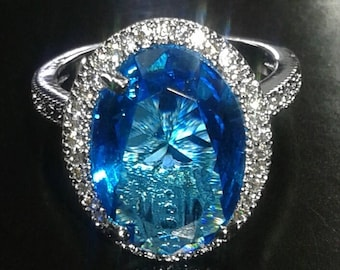 Women  925 Silver Aquamarine White Topaz Ring
