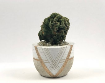 Concrete XL Bowl with Gold and White Geometric Design