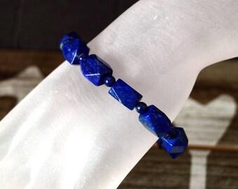 Lapis Lazuli Multi-faceted Stretch Bracelet